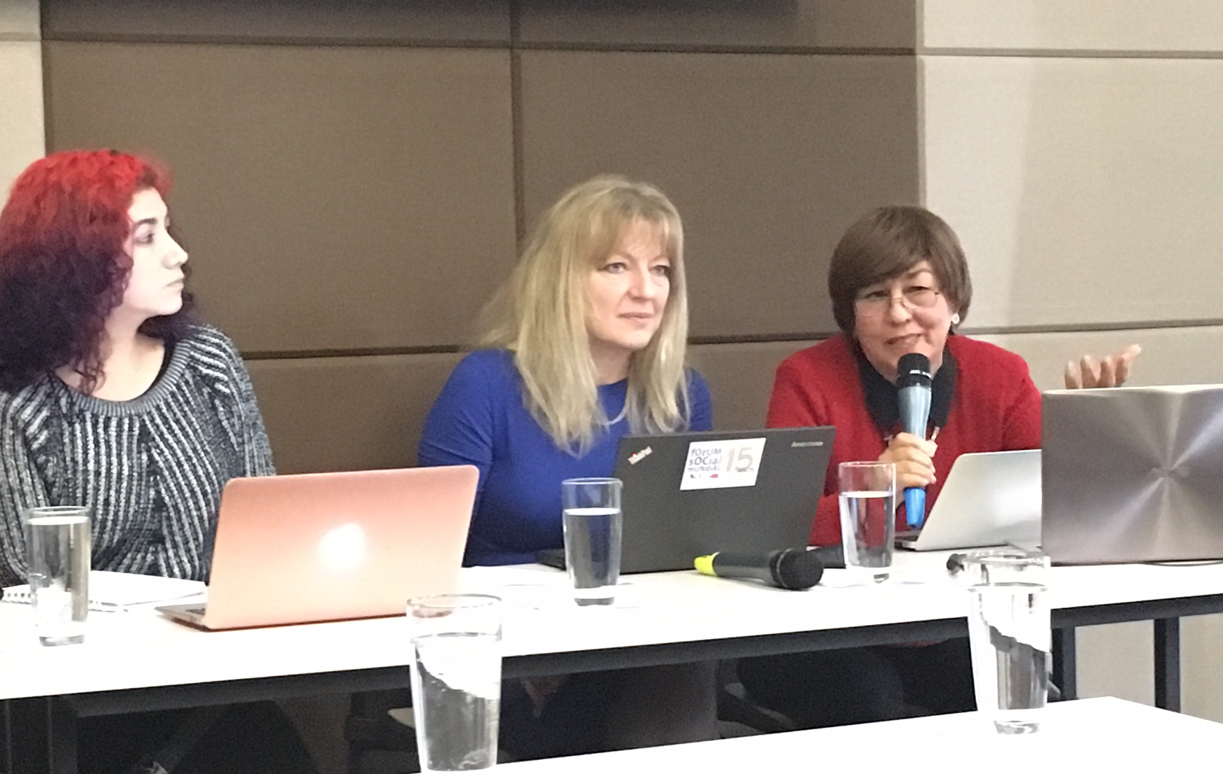 Photo: Katarina Popović, ICAE and Madeleine Zuniga, CLADE, speaking on behalf of Academia and Education Stakeholder Group at the UN DESA Expert meeting in Bogota